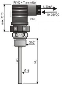Temperaturgivare för flytande och gasformiga medier